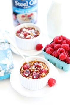 Raspberry Coconut Crème Brûlée Oatmeal Recipe on twopeasandtheirpod.com This oatmeal is a real breakfast treat!