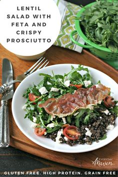 Beluga Lentils are the highlight of this arugula salad with crumbled feta and crispy Prosciutto. A simple dressing of dijon mustard, apple cider vinegar and walnut oil elevates this quick and easy salad to another level!
