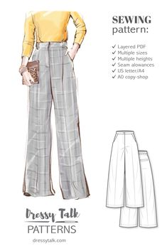 High Waisted Wide Leg Flare Palazzo Pants Sewing Pattern - New Ideas Diy Clothing, Clothing Patterns, Sewing Patterns, Sewing Tutorials, Dress Patterns, Shirt Patterns, Sewing Clothes Women, Barbie Clothes, Sewing Projects