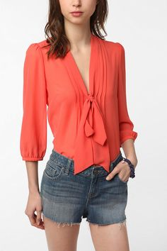 Urban Outfitters - Pins and Needles Chiffon Tie Neck Tunic