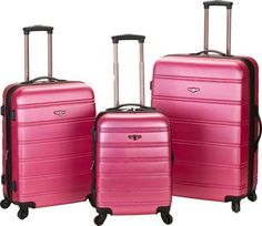 Rockland Luggage 3 Piece Carnival Hardside Spinner Set Pink - via eBags.com! #PickPink