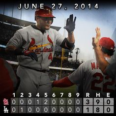Yadier Molina goes yard as Cardinals defeat the Dodgers to even series.
