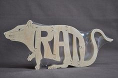 dino puzzles for scroll saw | Rat Rodent Puzzle Wooden Toy Hand Cut with Scroll Saw