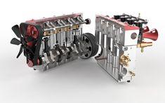 TOYAN FS-L400 14cc Inline 4 Cylinder Four-stroke Water-cooled Nitro En - EngineDIY Nitro Engine, Gasoline Engine, Gear Pump, Water Cooling, Inline, Rc Cars, Airplane, Engineering, Plane