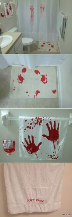 Horror bathroom design. Would be so funny for a Halloween party.