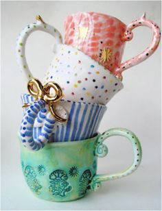 Quirky cups by Miranda Berrow