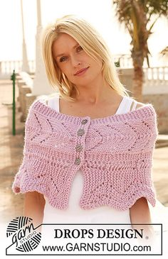 """112-32 Knitted shoulder wrap with lace pattern in """"Eskimo"""" by DROPS design"""