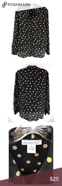 "Anna & Frank Silk Blouse Black Sheer Polka Dot Anna & Frank Silk Sheer Black Polka Dot Button Front Long Sleeve Blouse.  Size: M Measurements are taken laying flat. Bust: 20"" across  Sleeve Length: 23"" Length: 25"" ( Top seam to bottom hem) 100% Silk Anna And Frank Tops Blouses"