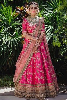 Beautiful embroidered Sabyasachi bridal lehenga for wedding.