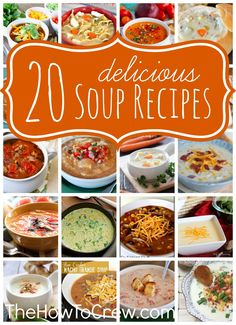 20 Delicious Soup Recipes from http://TheHowToCrew.com. 20 of the best soup recipes just in time for fall! #recipes #soup #fall