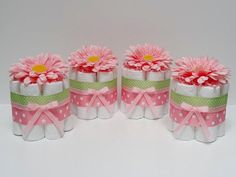 Flower Baby Shower Centerpieces mini diaper cakes different colors and sizes…