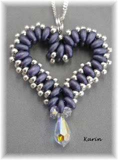Beaded heart pendant made with super duo and seed beads by Karin Fuhrman
