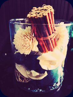 Teal and white potpourri in vase