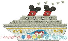 Disney Cruise ship filled embroidery design.