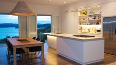 Opua House on ArchiPro Bay Of Islands, Laundry In Bathroom, Open Plan Living, Living Spaces, Kitchen Design, Architecture, Modern, Table, Kitchens