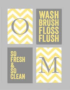 Items similar to Yellow and Gray Bathroom Art Home Decor Prints You Are My Sunshine Chandelier Chevron Monogram Prints - Set of four You Choose Colors on Etsy - Print (paper) size is – this listing is for a set of 4 Prints come freshly printed to ord - Chevron Bathroom, Gray Bathroom Decor, Bathroom Kids, Downstairs Bathroom, Bathroom Colors, Gray Decor, Bathroom Modern, Bathroom Designs, Bathroom Flooring