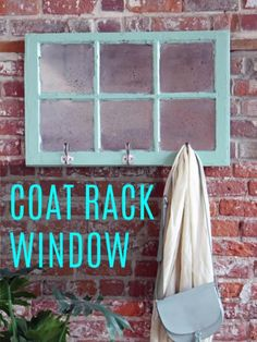 DIY Ideas With Old Windows - Coat Rack Window - Rustic Farmhouse Decor Tutorials and Projects Made With An Old Window - Easy Vintage Shelving, Coffee Table, Towel Hook, Wall Art, Picture Frames and Home Decor for Kitchen, Living Room and Bathroom - Creative Country Crafts, Seating, Furniture, Patio Decor and Rustic Wall Art and Accessories to Make and Sell http://diyjoy.com/diy-projects-old-windows