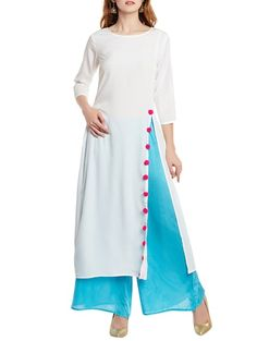 Cream crepe high slit solid kurta Check out what I found on the LimeRoad Shopping App! You'll love the cream crepe high slit solid kurta. Silk Kurti Designs, Salwar Designs, Kurta Designs Women, Kurti Designs Party Wear, Indian Designer Outfits, Designer Dresses, Designer Kurtis, Dress Neck Designs, Blouse Designs
