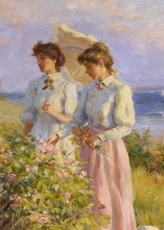 Asmerican painter, Greg Harris, has subjects that are most often women in period costume set against sun-drenched, natural backdrops. Classic Paintings, Old Paintings, Beautiful Paintings, Romantic Paintings, Aesthetic Painting, Aesthetic Art, Rennaissance Art, Lesbian Art, Renaissance Paintings