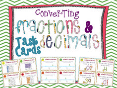 Converting Fractions and Decimals Task Cards { Common Core Aligned with Number Lines & Models! } 44 Converting Fractions and Decimals Task Cards. $