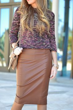 FUR COAT Brown Leather Skirt, Zara, Fur Coat, Fall Winter, Mini Skirts, Outfit, Casual Weekend, Sweaters, Clothes