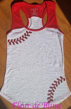 Baseball mom tank Glitter Baseball Mom by FleurdeBling on Etsy