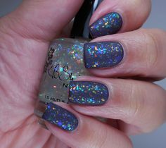 KBShimmer: ☆ Rainbow Shield ☆ ... a flakie polish ... layered over OPI: ☆ Miss You-niverse ☆ ... with matte topcoat