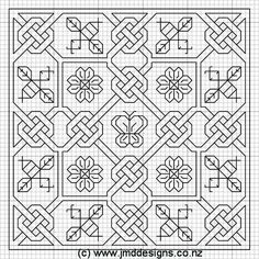 JMD Designs Home - Janet M. Davies - New Zealand - Converting Charted Designs - Needlework, Quilting and Applique Blackwork Cross Stitch, Blackwork Embroidery, Cross Stitching, Cross Stitch Embroidery, Embroidery Patterns, Cross Stitch Patterns, Hand Embroidery, Graph Paper Drawings, Graph Paper Art