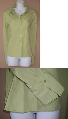 Women Tops Blouses: Womens Size Large Long Sleeve Solid Green Button Front Casual Career Top Shirt BUY IT NOW ONLY: $3.99