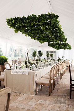 Brides: Wedding Reception Decor Trend We Love: Suspended Greenery Installations