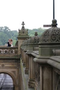 bride and groom, just married in Central Park, on Bethesda Terrace