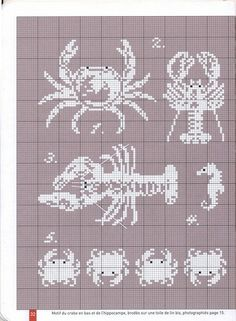mer - sea - crustacé - point de croix - cross stitch - Blog : http://broderiemimie44.canalblog.com/