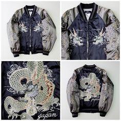 Vintage Japanese Yokosuka Jumper Black Dragon Ryu Tattoo Art Design Dope Badass…