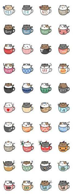Cats, cups, text, neko; Kawaii