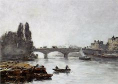 Rouen The Pont Corneille Fog Effect 1896 Wood Print by Boudin Eugene. All wood prints are professionally printed, packaged, and shipped within 3 - 4 business days and delivered ready-to-hang on your wall. Claude Monet, Eugene Boudin, Rouen, Art Database, Antibes, Great Artists, Painting Inspiration, Art Prints, Artwork