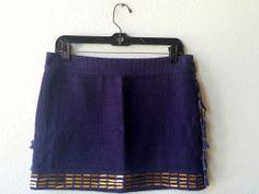 Rachel Roy blue mini skirt w/ bronze 2 #bronze #mini #mini-skirt #navy #rachel-roy #size-2 #skirt