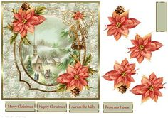 Church at Christmas 7x7 card with decoupage on Craftsuprint designed by Angela Wake - Church at Christmas 7x7 card with decoupage and sentiment tags - Now available for download!