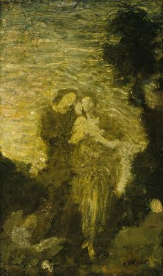 """Florizel and Perdita,"" Albert Pinkham Ryder, by 1887, oil on canvas mounted on fiberboard, 12 1/4 x 7 1/4"", Smithsonian American Art Museum."