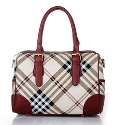 15391f626ff6 Burberry Plaid Red Bag Genuine Leather Classic with Lace Scarf