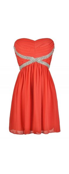 X Marks The Spot Embellished Chiffon Dress in Coral  www.lilyboutique.com