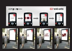 Ecko Unltd  Agency: Design Factory International  Digital canvasses were installed around the German city of Hamburg, and anyone with a Bluetooth phone could use it to spray their own graffiti. The campaign was to help promote fashion designer Marc Ecko's clothing range. via http://www.simplyzesty.com/
