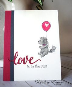 Love is in the Air by justampin - Cards and Paper Crafts at Splitcoaststampers Valentine Cards For Friends, Scrapbook Cards, Scrapbooking, Puppy Valentines, Diy Holiday Cards, Valentine's Cards For Kids, Hand Made Greeting Cards, Engagement Cards, Dog Cards