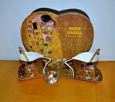 Klimt Tee-Kaffeetassenset Der Kuss 6teilig beige, Herzbox Gustav Klimt, Box, Collection, Home Decor, Atelier, China China, Kiss, Kaffee, Packaging