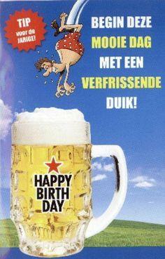 Verjaardagskaart Man Schuimend Glas Bier Proost Bloemschikken