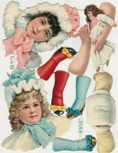 Winter antique paper dolls from EKDuncan - My Fanciful Muse: Antique Paper Doll Collecting. Victorian Paper Dolls, Vintage Paper Dolls, Victorian Christmas, Vintage Christmas, Christmas Paper, Christmas Tree, Paper Book, Paper Art, Vintage Cards