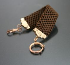 Victorian Mourning Woven Human Hair Bracelet Or Watch Chain.