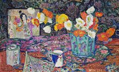 ❀ Blooming Brushwork ❀ - garden and still life flower paintings - Leon De Smet | A Vase of Flowers, 1916