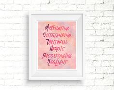 Typographic Watercolor Mothers Day Quote. Printable pink poster for mom. #mothersdayprint #mothersdayquote #quotesformom #typographicprint #wallart #homedecor #pinkposter #pinkwallart #watercolorprint #watercolorposter