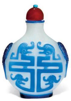 Blue Overlay Snuff Bottle