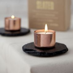 Copper And Slate Candle Holder - minimal home